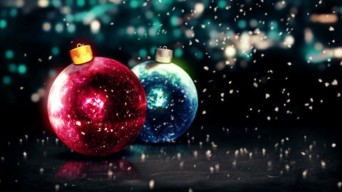 Baubles Christmas Night Bokeh Beautiful 3D Backgro Animation