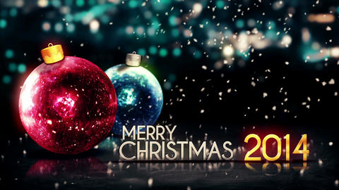 Merry Christmas 2014 Night Bokeh Beautiful 3D Back Animation