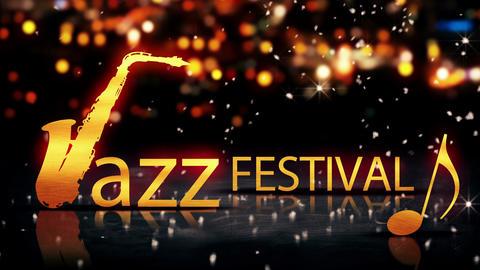 Jazz Festival Saxophone Gold City Bokeh Star Shine Animation