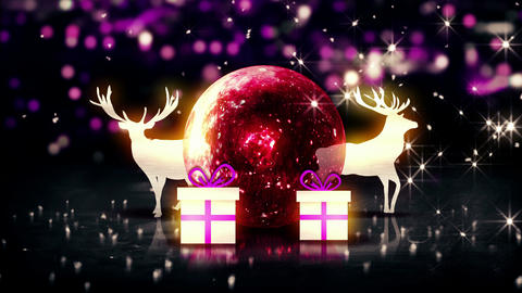Red Crystal Bauble Christmas Deer Gift 3D bokeh ba Animation