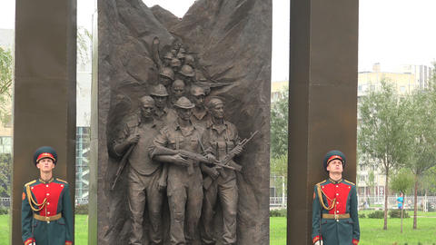 The Opening Of The Monument To Soviet Soldiers In  stock footage