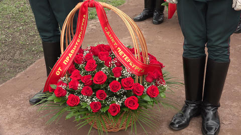 Basket with red roses. 4K Footage