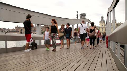 Crowd Crossing Maremagnum Bridge Time Lapse Live Action