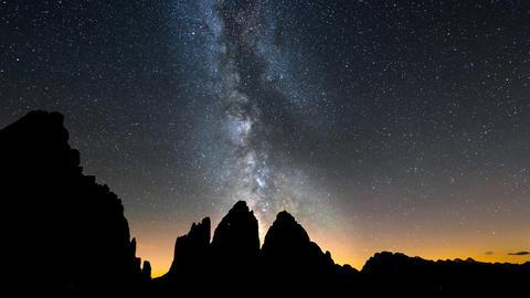 Tre Cime De Lavaredo Milky Way Pan 11499 stock footage