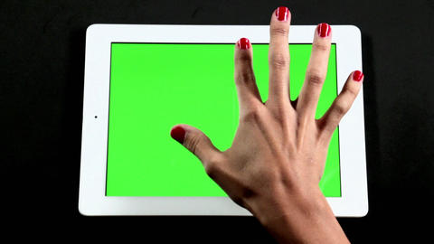 Tablet Computer Touch Screen Finger Gestures On Gr stock footage