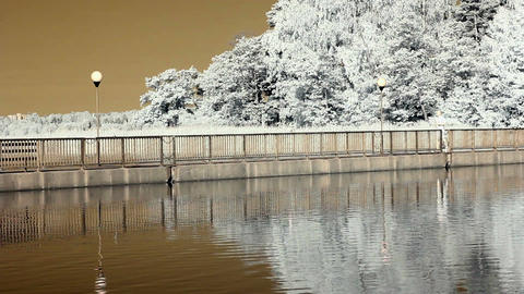 Infrared Finland: man jogging on a bridge 3 Stock Video Footage