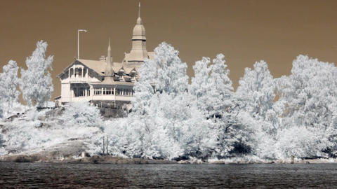 Infrared Finland: cafeteria on a rock island 1 Stock Video Footage