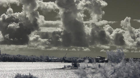 Infrared Finland: clouds over sea and Suomenlinna fortification 1 Footage