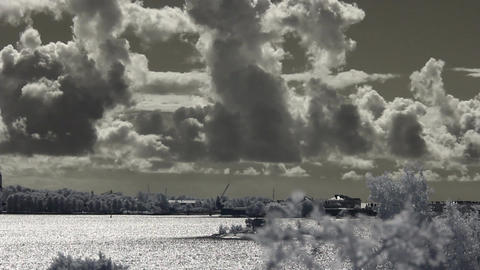 Infrared Finland: clouds over sea and Suomenlinna... Stock Video Footage