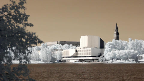 Infrared Finland: Finlandia Hall in Helsinki 1 Footage