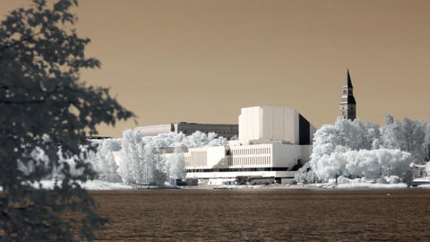 Infrared Finland: Finlandia Hall in Helsinki 1 Stock Video Footage
