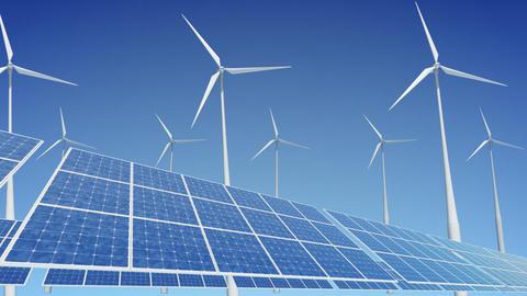 Solar Panel Wind Turbine A2W HD Stock Video Footage