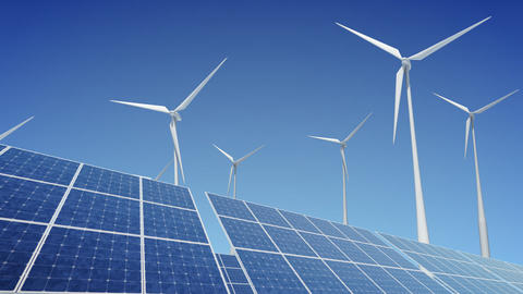 Solar Panel Wind Turbine B2W HD Animation