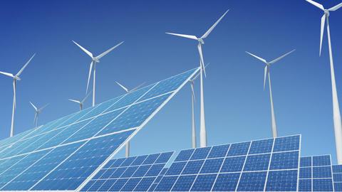 Solar Panel Wind Turbine E2W HD Animation