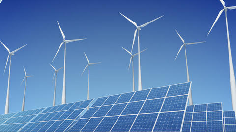 Solar Panel Wind Turbine E2W HD Stock Video Footage