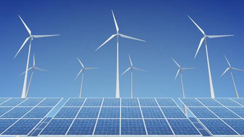 Solar Panel Wind Turbine H2W HD Stock Video Footage