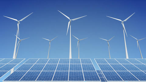 Solar Panel Wind Turbine H2W HD Animation