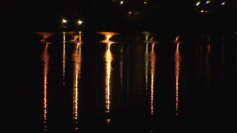Reflections of electric lamps in a water 1 Footage