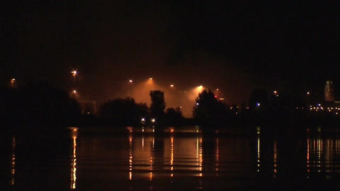 Smoke coming after fireworks show 1 Stock Video Footage