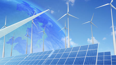 Solar Panel Wind Turbine E2 HD Stock Video Footage