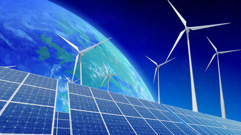 Solar Panel Wind Turbine E4 HD Stock Video Footage