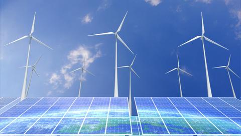 Solar Panel Wind Turbine E6 HD Stock Video Footage
