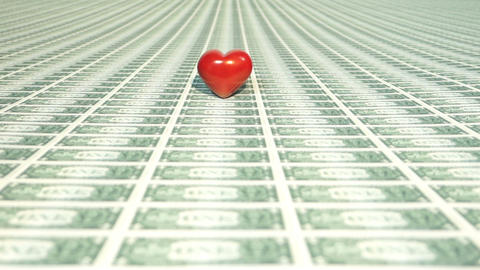 Heart with many one dollar bills Stock Video Footage
