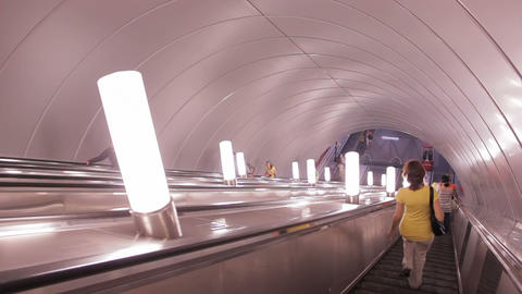 The escalator ride into the subway, St. Petersburg Stock Video Footage