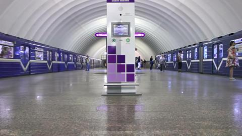 Staraya Derevnya, waiting, St. Petersburg, Russia Stock Video Footage