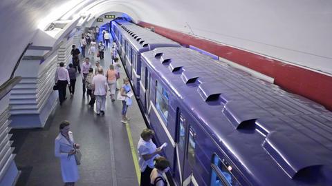 Nevsky Prospekt, Train leaves, St. Petersburg, Rus Stock Video Footage
