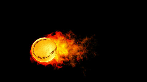 Baseball fireball in flames on black background Stock Video Footage