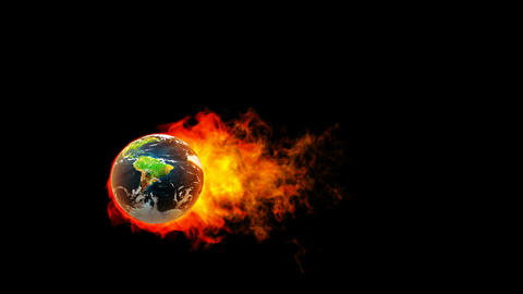 Earth fireball in flames on black background Stock Video Footage