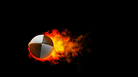 Rugby fireball in flames on black background Stock Video Footage