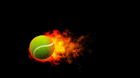 Tennis fireball in flames on black background Stock Video Footage