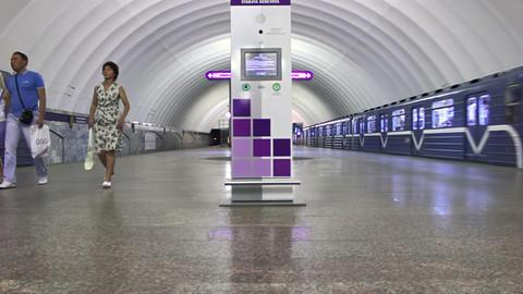 Staraya Derevnya, train leaves, St. Petersburg, Ru Stock Video Footage