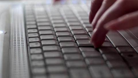 Tracking shot laptop Stock Video Footage