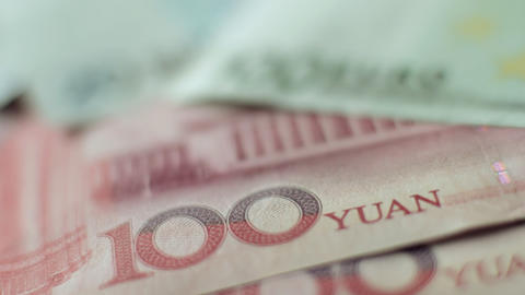 Chinese Yuan to Euros Stock Video Footage