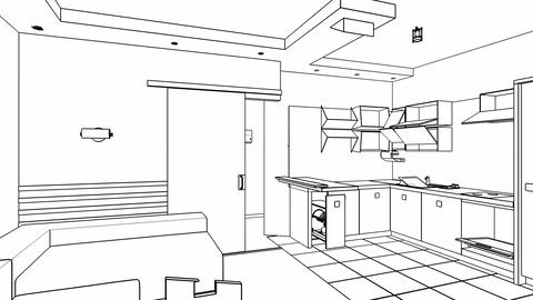 Interior creation, wire frame Stock Video Footage