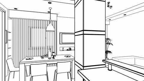 Interior creation, wire frame Animation
