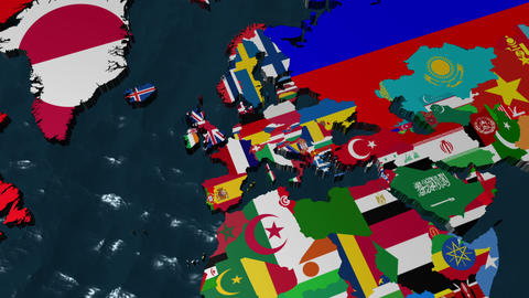 France 3D Flag World Zoom with clouds Stock Video Footage