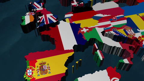 France 3D Flag World Zoom with clouds Animation