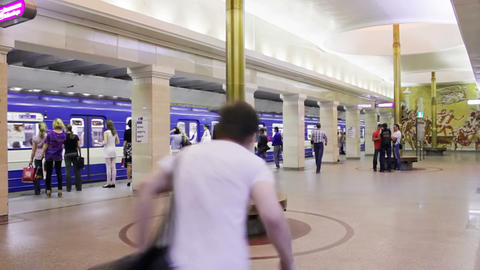 Sportivnaya, train arrival, St. Petersburg, Russia Stock Video Footage