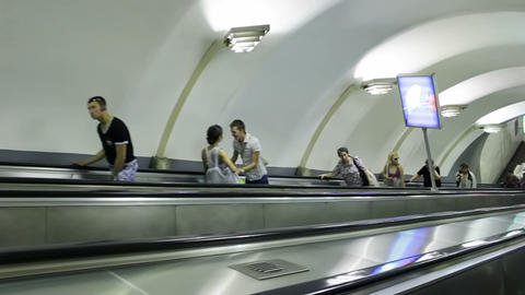 Escalator ride into subway station Chkalovskaya, S Footage