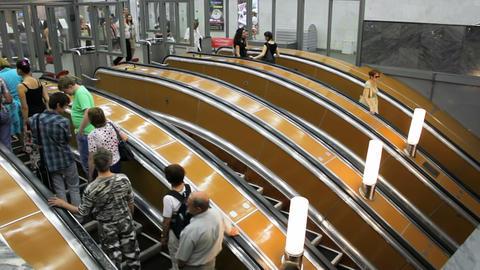 Escalator into subway, St. Petersburg, Russia Stock Video Footage