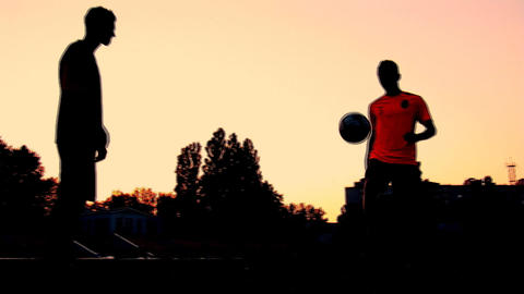 soccer sunset 1 Stock Video Footage