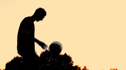 soccer sunset 3 Stock Video Footage