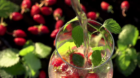 Soda with Mint and Strawberries Footage