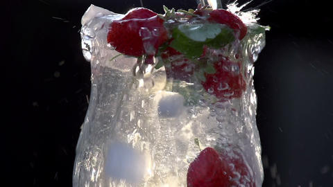 Mineral Water is Poured Into a Glass Footage