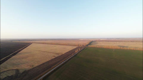 Stock Footage Aerial Sunset View of Agricultural f Footage