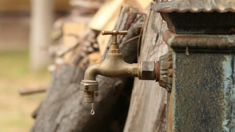 Old Faucet. Dripping Tap stock footage